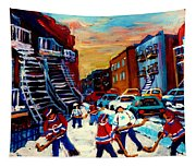Hockey Paintings Of Montreal St Urbain Street City Scenes Tapestry