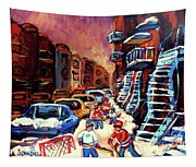 Hockey Paintings Of Montreal St Urbain Street Winterscene Tapestry