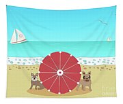 Holiday Romance Behind The Red Umbrella Tapestry