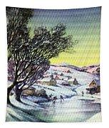 Holiday Winter Snow Scene Children Skating On Frozen Pond Tapestry
