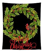 Holly Christmas Wreath And Cardinal Tapestry