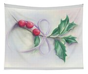 Holly Sprig With Bow Tapestry