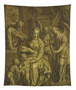 Holy Family With Angels Tapestry