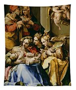 Holy Family With Saint Anne Catherine Of Alexandria And Mary Magdalene Tapestry