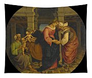 Holy Family With Saints John Elisabeth And Zacharias Tapestry