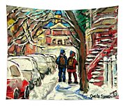Original Art For Sale Montreal Petits Formats A Vendre Walking To School On Snowy Streets Paintings Tapestry