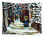 Buy Original Paintings Montreal Petits Formats A Vendre Scenes Man Shovelling Snow Winter Stairs Tapestry