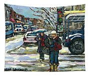 Rue Cote St Catherine Peintures Petit Format A Vendre Scenes De Ville Montreal Street Scenes  Tapestry