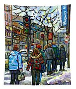 Promenade Au Centre Ville Rue Ste Catherine Montreal Winter Street Scene Small Paintings  For Sale Tapestry