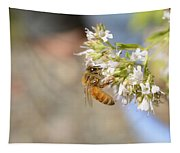 Honey Bee On Herb Flowers Tapestry
