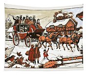 Horse And Carriage In The Snow Tapestry