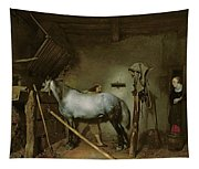 Horse In A Stable Tapestry