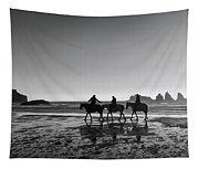 Horseback Storytelling Black And White Tapestry