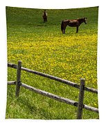 Horses In A Field Tapestry
