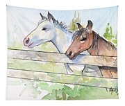Horses Watercolor Sketch Tapestry