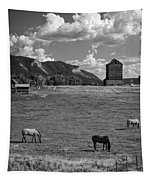 Horses Grazing At Mancos Grain Elevator Tapestry