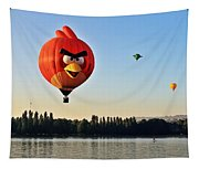 Hot Air Balloon Confronts Stand Up Paddleboarder Tapestry