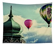 Hot Air Balloons Float Over Lewiston Maine Tapestry