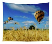 Hot Air Balloons Over A Wheat Field Tapestry