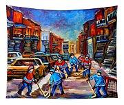 Hotel De Ville Montreal Hockey Street Scene Tapestry
