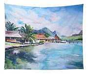 House By The Lagoon In French Polynesia Tapestry
