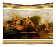 House Near The River. L A With Decorative Ornate Printed Frame. Tapestry