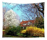House On The Hill In Spring Tapestry