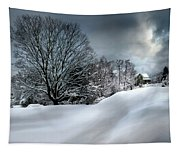 House On The Hill Winters In Vermont Tapestry