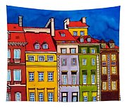 Houses In The Oldtown Of Warsaw Tapestry