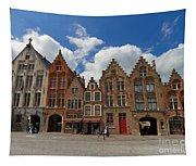 Houses Of Jan Van Eyck Square In Bruges Belgium Tapestry
