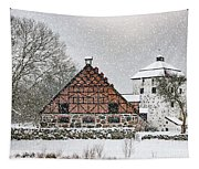 Hovdala Castle Gatehouse And Stables In Winter Tapestry