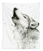 Howling Wolf Watercolor Tapestry by Olga Shvartsur
