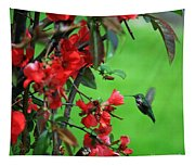 Hummingbird In The Flowering Quince - Digital Painting Tapestry