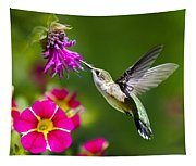 Hummingbird With Flower Tapestry