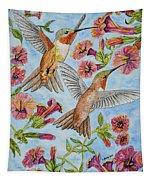 Hummingbirds And Hibiscus II Tapestry