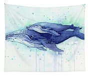 Humpback Whale Mom And Baby Watercolor Tapestry