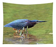 Hunting Green Heron Tapestry