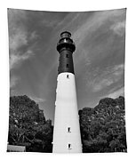 Hunting Island Lighthouse Beaufort Sc Black And White Tapestry