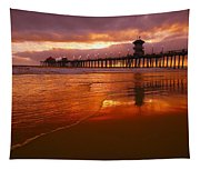 Huntington Beach At Sunset Tapestry