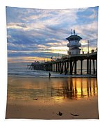 Huntington Beach Pier Sunset Tapestry