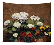 Hydrangeas And Wallflowers And Two Pots Of Pansies Tapestry