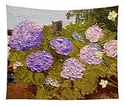 Hydrangeas On The Creek Bank Tapestry