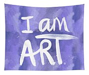 I Am Art Painted Blue And White- By Linda Woods Tapestry