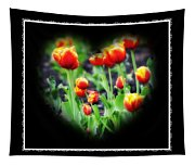 I Heart Tulips - Black Background Tapestry