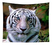 Ice Blue Eyes Of The Tiger Tapestry