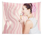 Ice Cream Pin-up Poster Girl Licking Waffle Cone Tapestry
