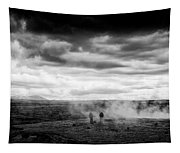 Iceland Black And White Landscape Haukadalur Tapestry