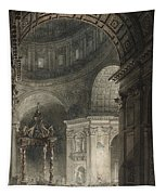 Illumination Of The Cross In St. Peter's On Good Friday, 1787 Tapestry