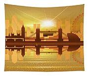 Illustration Of City Skyline - London  Sunset Panorama Tapestry
