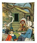 Illustration Of The First Thanksgiving Tapestry